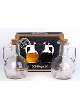 Heart of the Home Rustic Traditional Style Glass Oil & Vinegar Jug Bottle Set