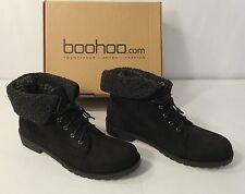 BooHoo Melissa Knitted Fur Collar Hiker Boot, Black,Size 6 UK / 8 US / 39 EU Box
