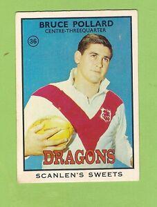 #D378. 1968 Series 2 SCANLENS RUGBY LEAGUE CARD #36 BRUCE POLLARD, ST GEORGE
