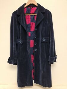 Boden Overcoat UK Size 12 Dark Blue 100% Cotton.     HO4