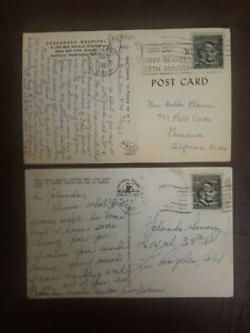 Post stamps 3 vintage Abraham Lincoln 4 cent black stamp & Postcards Navy Rare
