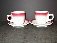 2 vintage Buffalo China restaurant ware cup & saucer sets white w/ red airbrush