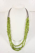 Vintage Jewelry Rough Cut Polished Peridot Necklace Sterling Triple Strand 26""
