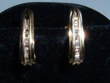 """18K GOLD DIAMOND HOOP EARRINGS **VERY FINE """" LOW PRICE.TRENDING AT $950.00"""