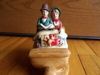 "Enesco Carolers 1983 Sleigh Musical  man & lady bisque porcelain 6"" x 6"" vintage"