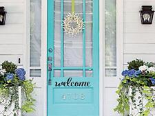 WELCOME Front Door Entrance Wall Art Decal Words Lettering Decor Vinyl Sticker
