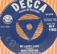 "MIKE PRESTON ~ MY LUCKY LOVE ~ HOUSE CAR RING ~ UK VINYL 7"" 1958 ~ TRI DECCA"
