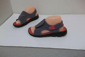 BOYS GIRLS NIKE SUNRAY SIZE 1Y YOUTH GRAY RED ADJUSTABLE SANDALS