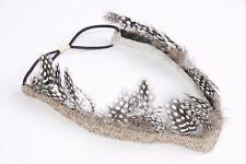 Polka Dot Faux Feather Carnival Headband W Metallic Silver Rose Gold Beads s149