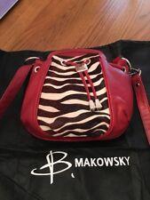NWOT  B, Makowsky Red Leather Calf Hair Zebra Print Shoulder Bag