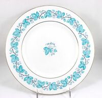 2 SALAD PLATES VINTAGE MINTON BONE CHINA S366 TURQUOISE BLUE ENAMEL VINES GOLD