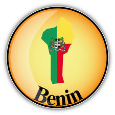 Benin Map Flag Glossy Label Car Bumper Sticker Decal 5'' x 5''