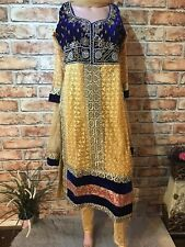 Indian Velvet Border Churidar Pakistani Suit Heavy Stone Party Dress RRP £65