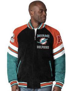 Miami Dolphins Men's 2XL Varsity Letterman Jacket Nfl GIII Authentic Brand New