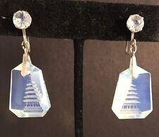Vintage Japanese Opaline Crystal Reverse Carved Silver Pagoda Earrings WWII