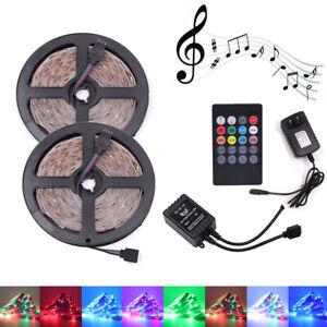 5M 10M 2835 RGB LED Strip Lights Tape + 20K Music IR Remote + 12V US Power