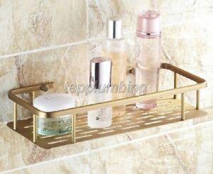 300mm Antique Brass Wall Mount Bathroom Shower Shelf Storage Basket