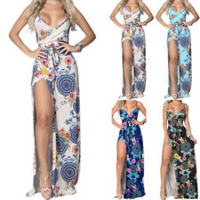 Women Sexy Floral Maxi Dress Summer Beach CasualStrappy Long Slit Party Sundress