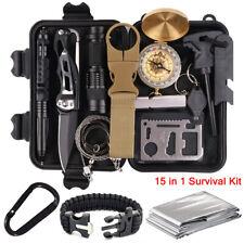 15 in 1 Survival Kit Notfall Set Camping Outdoor Abenteuer Messer Feuerstarter