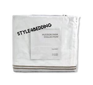 Hudson Park Italian Linens Cotton Percale KING Bedskirt White / Champagne