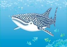 A3  Cartoon Whale Shark Poster Size A3 Sea Ocean Creature Poster Gift #16923