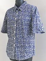 L.L. Bean Sz M Navy Blue Nautical Print Button Front Cotton Short Sleeve Shirt