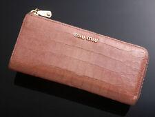 G4103 Authentic miu miu Crocodile-Embossed Leather Zip L- Shape Long Wallet