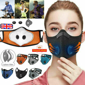 Reusable Washable Anti Pollution Face Mask PM2.5 two Air vent With Filter UK