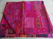 Indian silk patola patchwork kantha quilt pink handmade vintage bedspread throw
