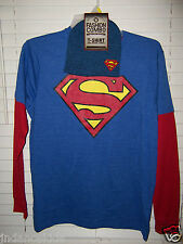Superman Men's Size L 42/44 Blue/Red Long Sleeve T-Shirt And Beanie Combo NWT