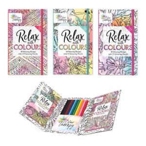 MIND RELAXING COLOURING BOOK Adult Stress Relief Colour Therapy Travel Set