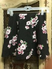 Forever 21 Black w/ Floral Print Short A-Line Elastic Waist Skirt Sz Small