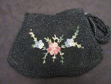 Vintage 1920-30's beaded black purse Beautful
