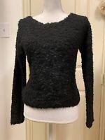 NWT Express Textured Black Sweater Women's Size Xs Fuzzy $88