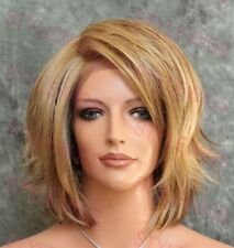 Light Brown/Blonde Mix Short Curly Heat OK Synthetic Lace Front Wig ABGE 2216