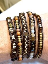 Nakamol 5 Wrap Up Bracelet Gold Tone Copper  Semi Precious Beads Brown Leather