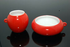 Red Glazed Porcelain Bird Feeders Seed/Water Cups for Chinese Bamboo Bird Cage