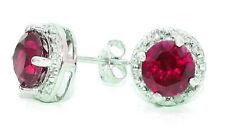 Stud Earrings 14Kt White Gold 2 Carat Ruby & Diamond Round