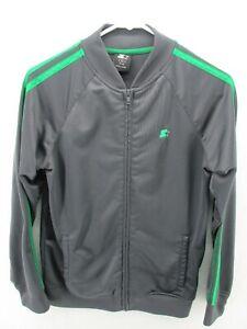 Starter Boys Jacket XL 14 16 Gray Green Zip Up Full Stripe Sleeve Elastic Cuff