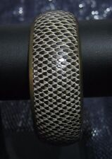 Wonderful gold tone metal bangle style bracelet faux snake skin design