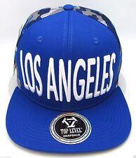 LOS ANGELES City Snapback Cap LA Blue Camouflage Mesh Trucker Hat Flat Bill NWT