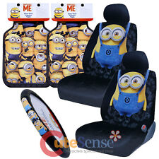 Despicable Me Minions Car Seat Covers 7pc Set Floor Mat Steering Wheel Cover