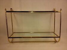 Brass Plated Bathroom Wall Mount Towel Rack with Glass Double Shelf 0031010