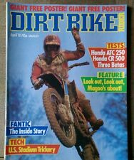 Dirt Bike Rider. April 1985. Honda CR500, Honda ATC250, Beta TR32, 240, 125, 200