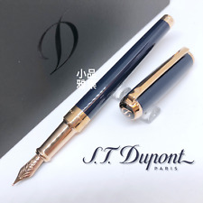 S.T. Dupont Elysee Edition Line D Blue Lacquer Rose Gold Fountain Pen