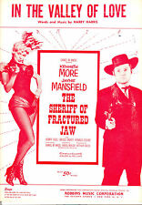 "SHERIFF OF FRACTURED JAW Sheet Music ""In The Valley Of Love"" Jayne Mansfield"