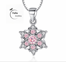 Pink snowflake Zircon pendant 925 Sterling silver necklace Women Love lady gift