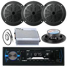 "Black Marine 4"" Speakers, 400W Amplifier, Antenna, PLMRB29B Black USB AUX Radio"