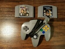 Nintendo 64 Gray Controller - Perfect Dark & WCW vs NWO World Your - tested lot
