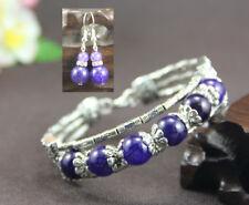 Ladies Bangle Purple Agate Tibetan Silver Bracelet Earrings